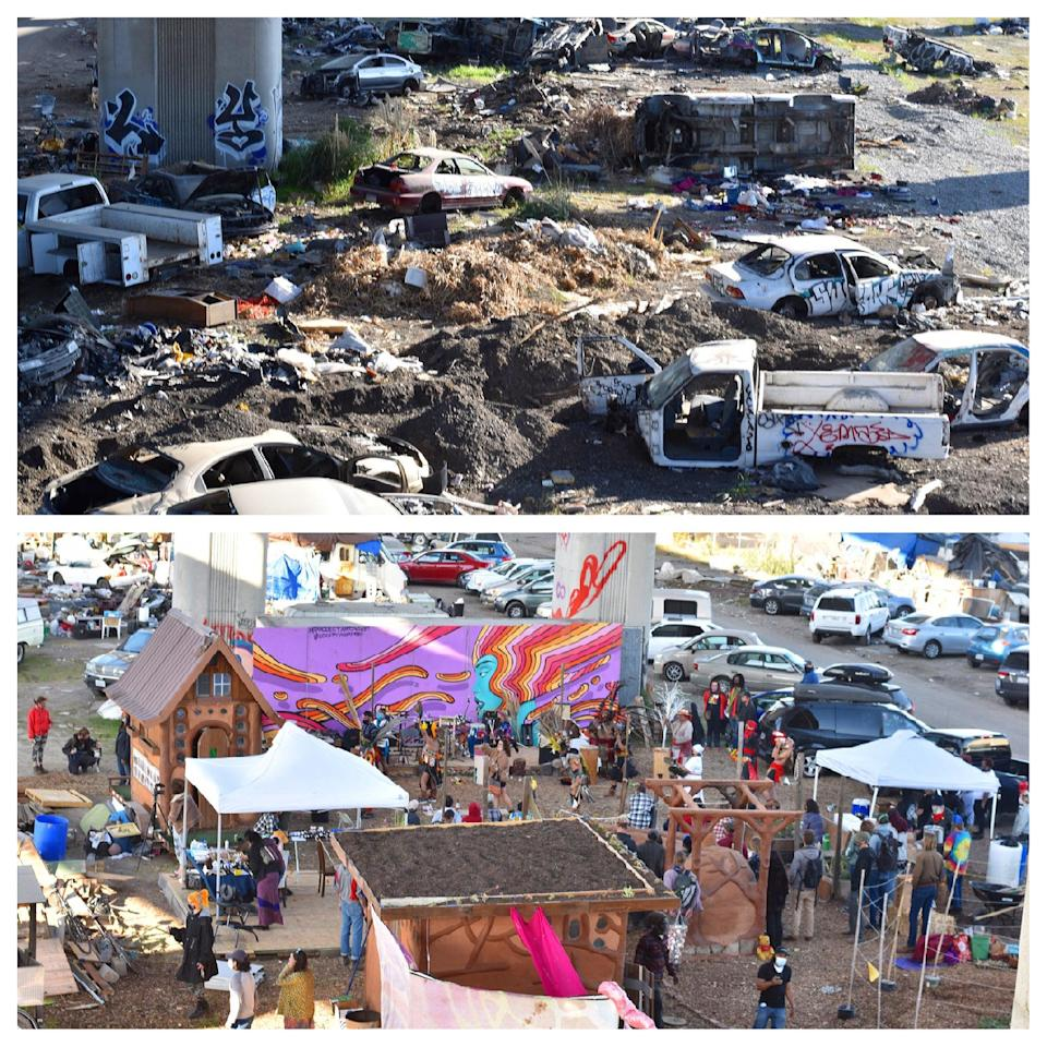 A before-and-after photo shows the site where unhoused people cleared a section of vacant land and turned it into a meeting place called Cob on Wood. (Courtesy of Cob on Wood)