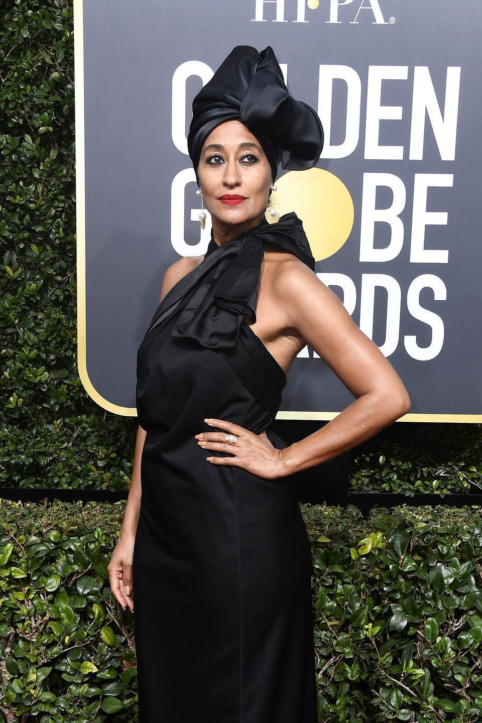 <p>Don't feel like wearing your hair out? Braid it in some cornrows, tuck the ends, and throw on a fabulous headwrap like actress <strong>Tracee Ellis Ross</strong>. So elegant and your hair underneath is getting the rest that it needs. </p>