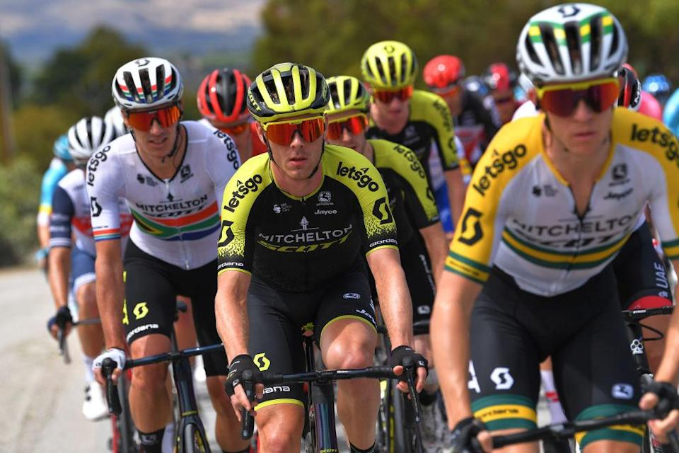 Mitchelton-Scott's Michael Hepburn (centre) works on the front of the bunch during stage 5 of the 2020 Tour Down Under
