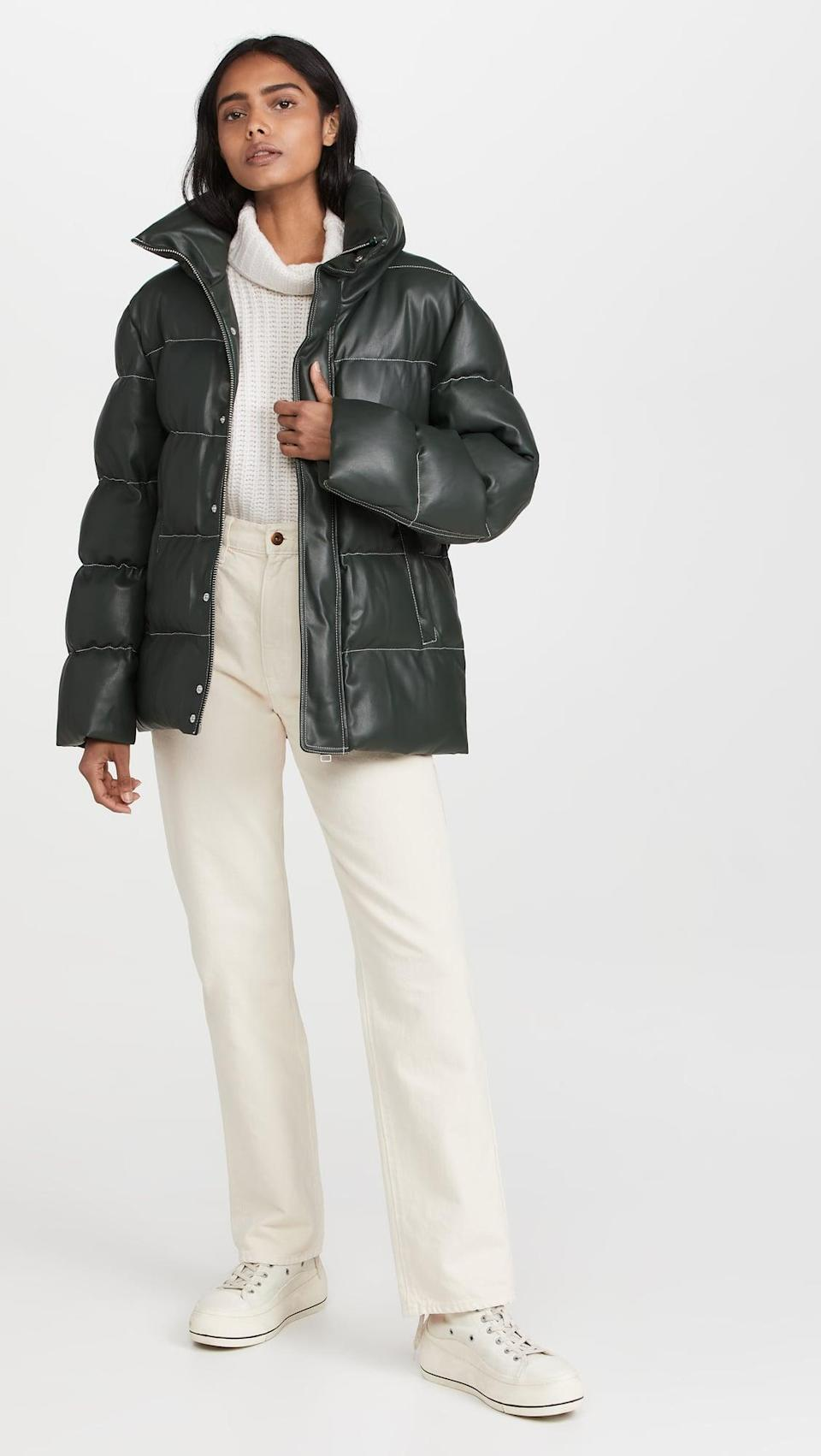<p>This dark green leather <span>Staud Ace Coat</span> ($450) is so chic. We're also into the contrasting white stitching.</p>