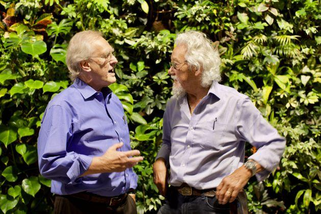 Stephen Lewis, left, and David Suzuki are on a speaking tour called Climate First. They're pictured at the University of Toronto on Sept. 13, 2019.