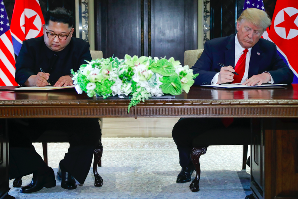 <em>Trump and Kim signed an agreement that committed to the complete denuclearisation of the Korean Peninsula (PA)</em>