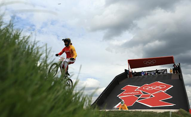 LONDON, ENGLAND - AUGUST 07: Vilma Rimsaite of Lithuania trains on the BMX track in Olympic Park on Day 11 of the London 2012 Olympic Games on August 7, 2012 in London, England. (Photo by Phil Walter/Getty Images)