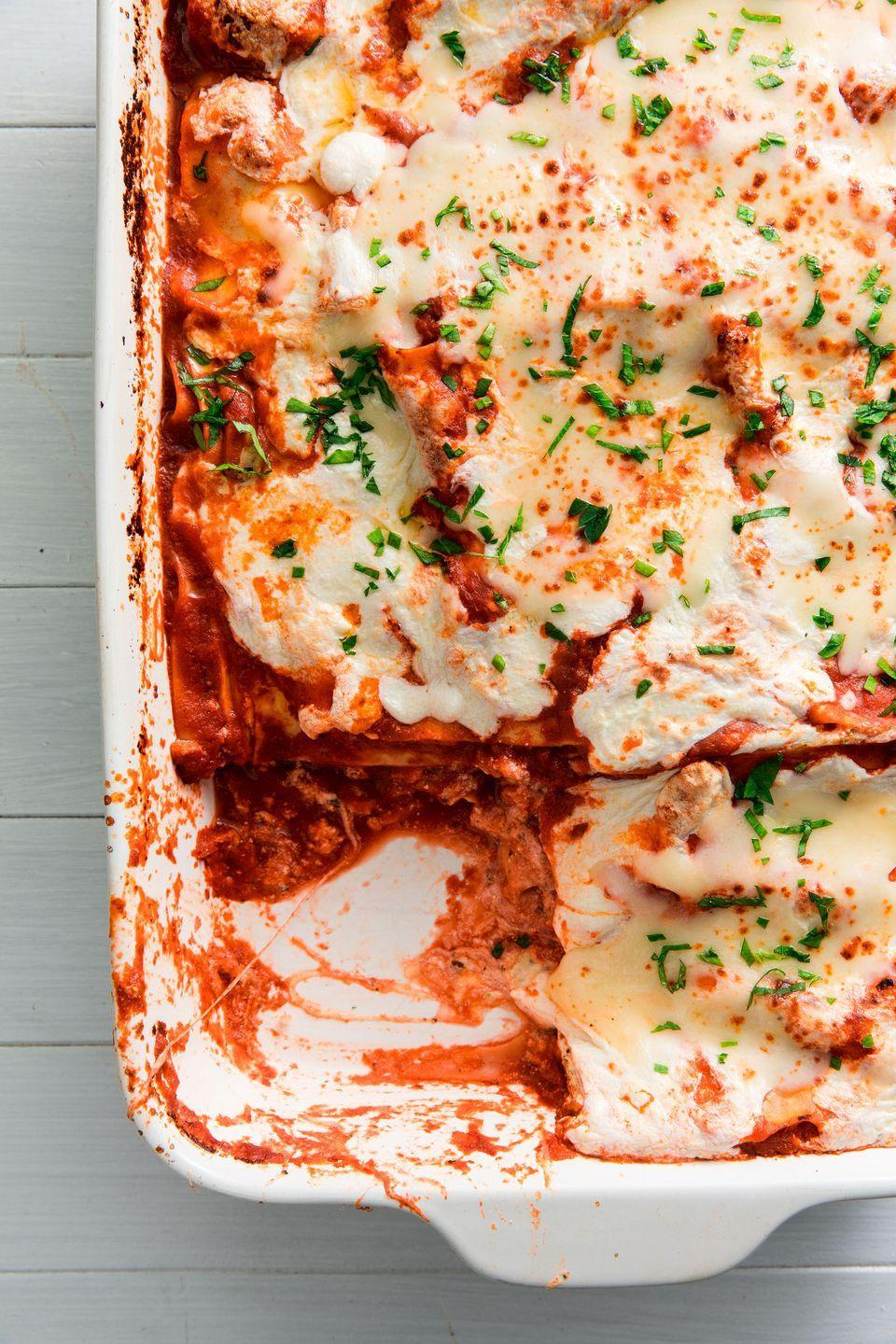 "<p>Two words: cheesy & saucy. </p><p>Get the recipe from <a href=""https://www.delish.com/cooking/recipe-ideas/a22024777/easy-vegetarian-lasagna-recipe/"" rel=""nofollow noopener"" target=""_blank"" data-ylk=""slk:Delish."" class=""link rapid-noclick-resp"">Delish. </a></p>"