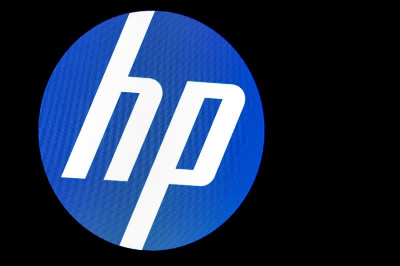 FILE PHOTO: A screen displays the logo for HP Inc. at the NYSE in New York