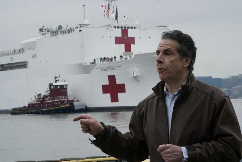 New York governor Andrew Cuomo in Manhattan as the USNS Comfort arrives in New York.