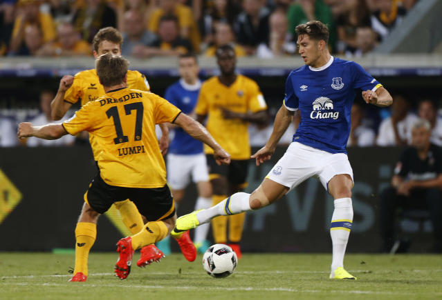 Football Soccer - Dynamo Dresden v Everton - Pre Season Friendly - Dresden Cup - DDV-Stadium, Dresden, Germany - 29/7/16 Everton's John Stones in action with Dynamo Dresden's Andreas Lambertz Action Images via Reuters / Hannibal Hanschke Livepic