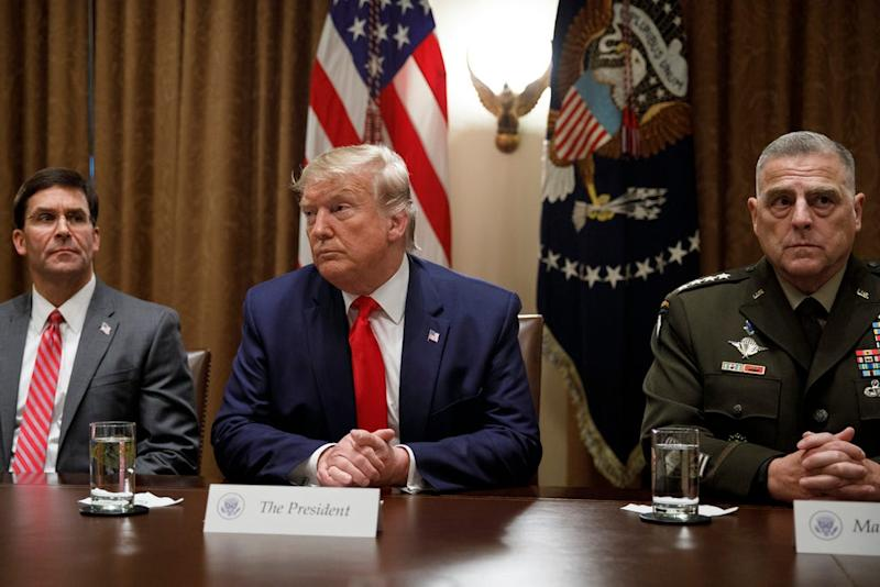 President Donald Trump and Chairman of the Joint Chiefs of Staff Gen. Mark Milley in the Cabinet Room at the White House in Washington, Monday, Oct. 7, 2019.
