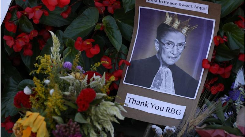 A picture of RBG at a makeshift memorial