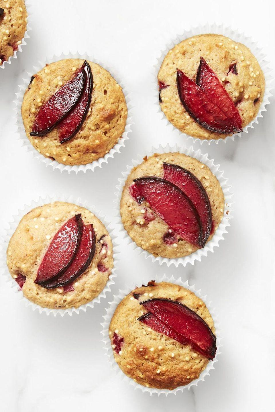 """<p>Start your New Year's off right with these whole grain-packed muffins. You can actually add any fruit you'd like to these muffins, but we think that sliced plum is pretty seasonally appropriate.</p><p><em><a href=""""https://www.goodhousekeeping.com/food-recipes/a44752/spiced-plum-quinoa-muffins-recipe/"""" rel=""""nofollow noopener"""" target=""""_blank"""" data-ylk=""""slk:Get the recipe for Spiced Plum and Quinoa Muffins »"""" class=""""link rapid-noclick-resp"""">Get the recipe for Spiced Plum and Quinoa Muffins »</a></em> </p>"""