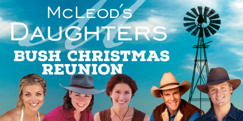 Good news for Mcleod's Channel nine's Mcleod's Daughters reunion poster featuring Bridie Carter, Lisa Chappel, Simmon Jade MacKinnon, Aaron Jeffery and Myles Pollard