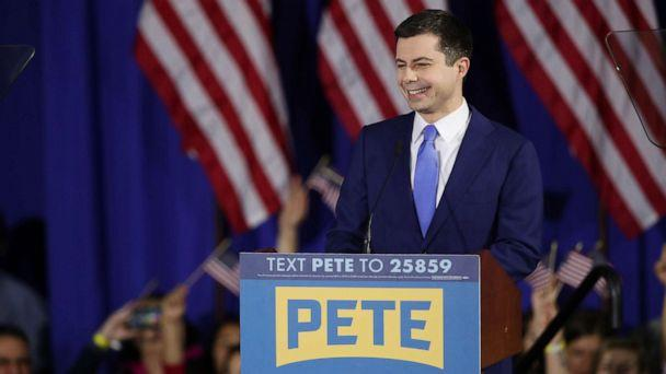 PHOTO: Democratic presidential candidate former South Bend, Indiana Mayor Pete Buttigieg speaks at his primary night watch party, Feb. 11, 2020, in Nashua, N.H. (Matthew Cavanaugh/Getty Images)