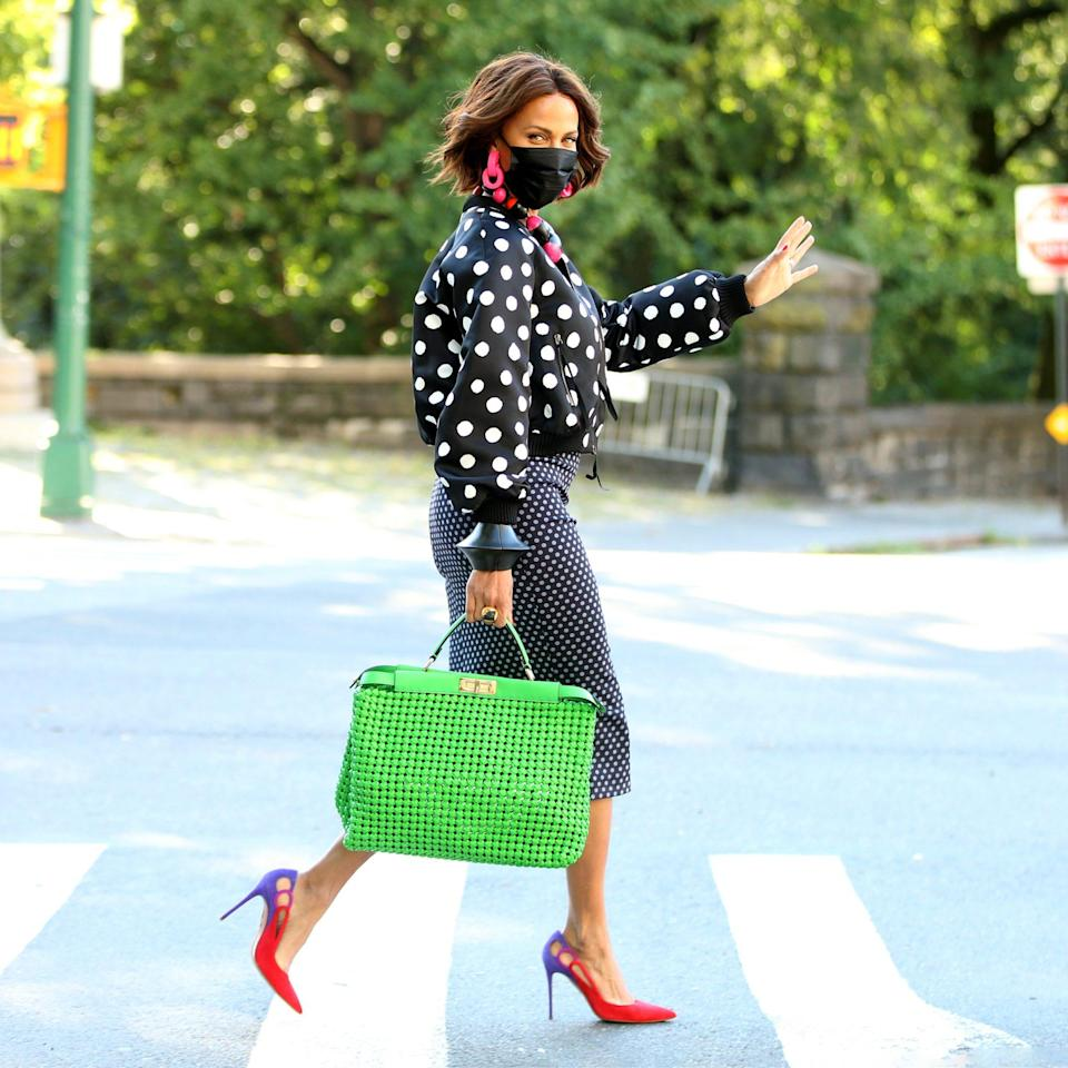 <p>Nicole Ari Parker walks to the set of <em>And Just Like That</em> to film on the Upper West Side on Sept. 2 in N.Y.C.</p>