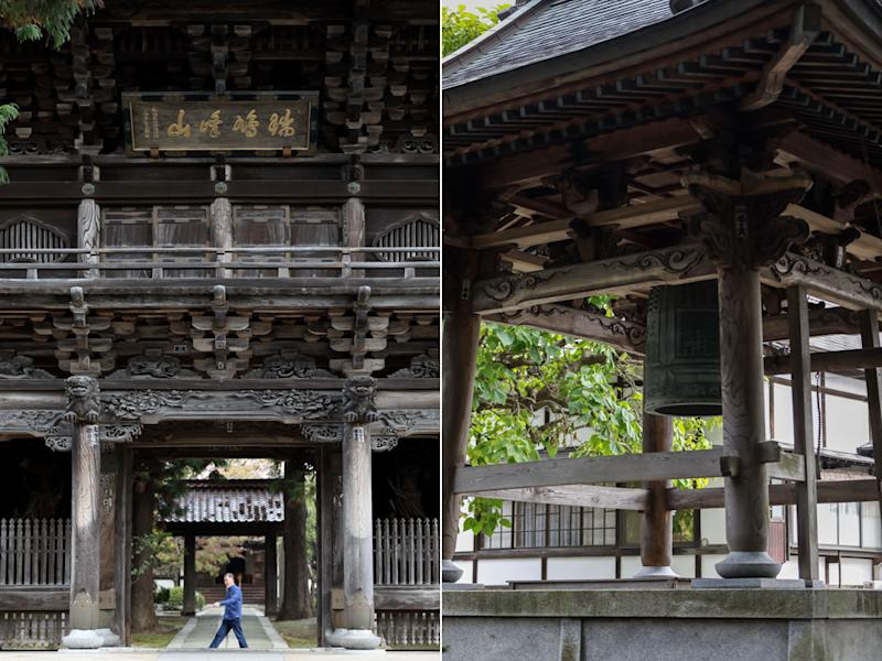The entrance to Hoon-ji Temple is a monument to skilled wood craft.