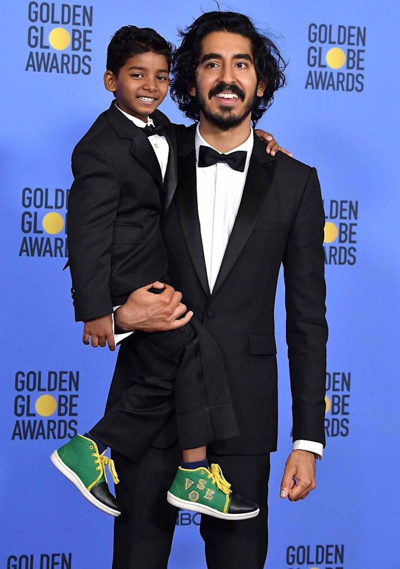 Dev Patel won the AACTA Award for Best Supporting Actor. He is pictured here with Sunny in January 2017. Source: Getty