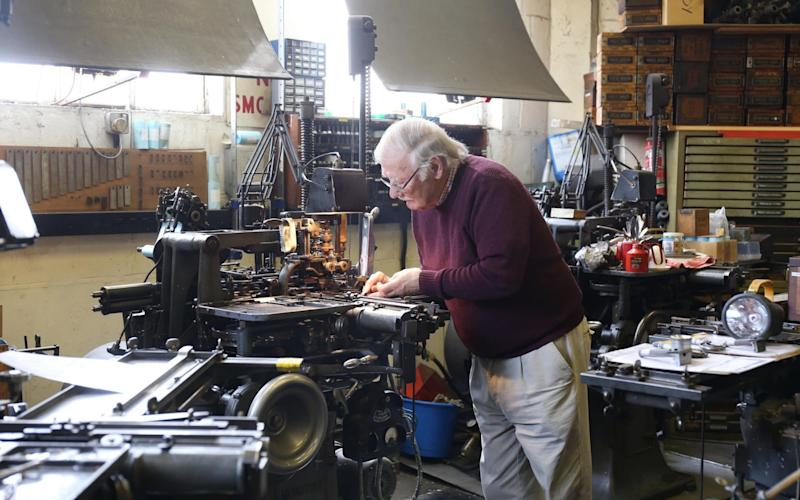Stanley Lane photographed at his printing press in Stone House, Gloucestershire - TMG John Lawrence