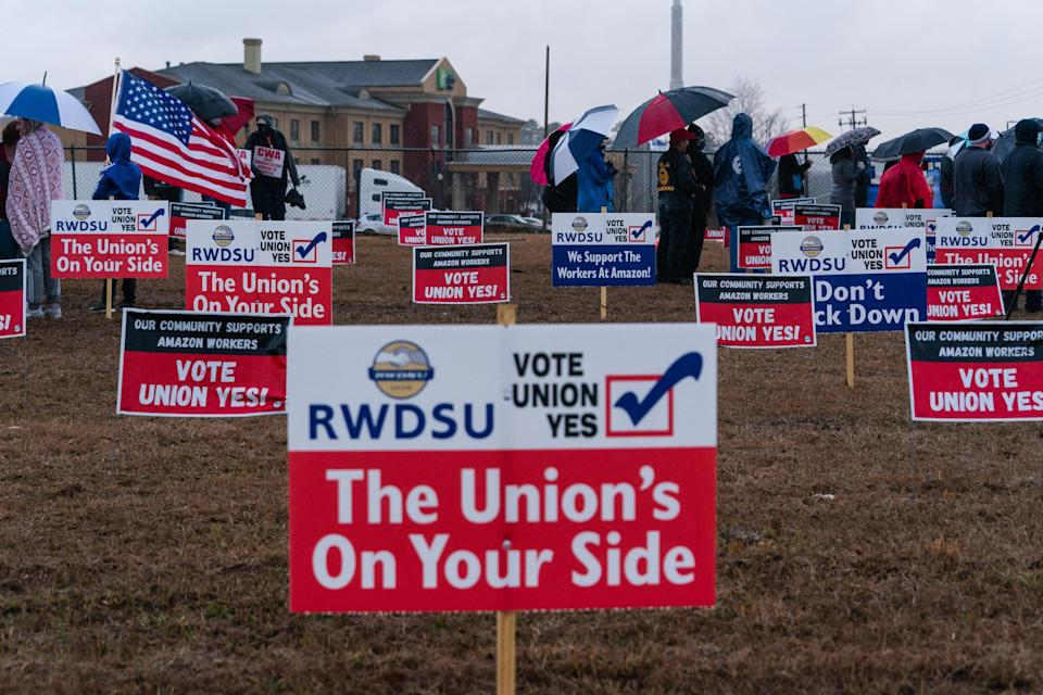 Pro-union demonstration signs during a Retail, Wholesale and Department Store Union (RWDSU) held protest outside the Amazon.com Inc. BHM1 Fulfillment Center in Bessemer, Alabama