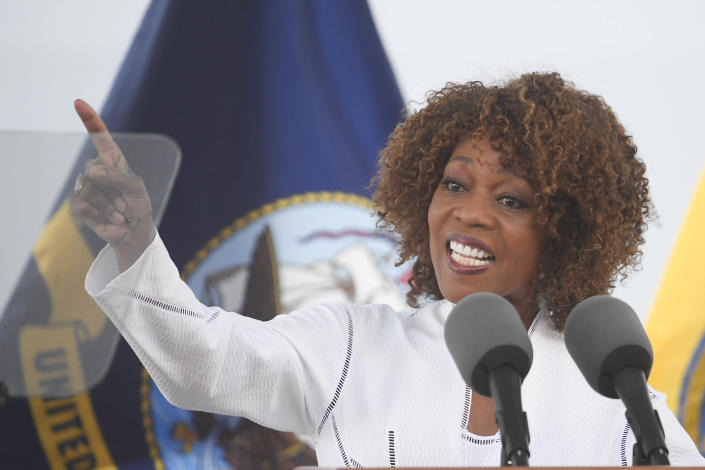 Ship sponsor Alfre Woodard Spencer speaks at a christening ceremony for the the USNS John Lewis Saturday July 17, 2021, in San Diego. (AP Photo/Denis Poroy)