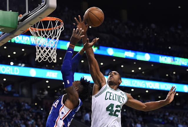 Nov 30, 2017; Boston, MA, USA; Boston Celtics forward Al Horford (42) blocks the shot of Philadelphia 76ers forward Robert Covington (33) during the second half at TD Garden. Mandatory Credit: Bob DeChiara-USA TODAY Sports TPX IMAGES OF THE DAY