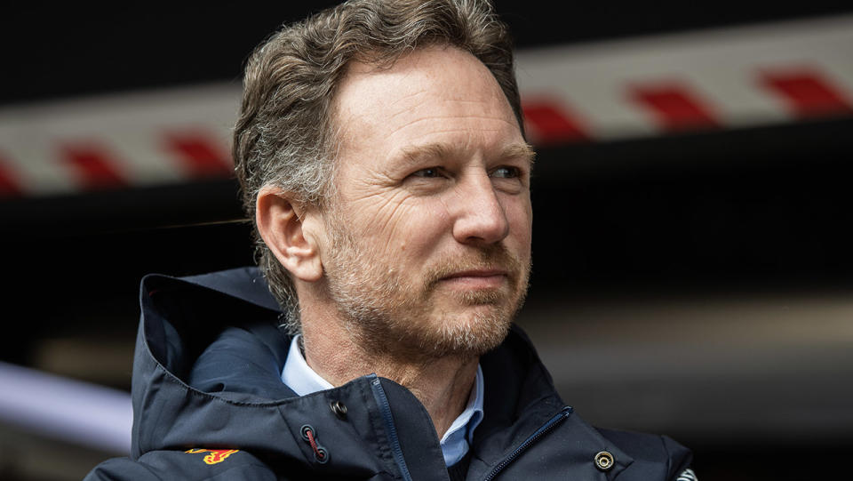 Christian Horner of Red Bull looking on at the F1.