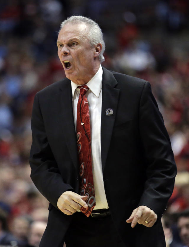 Wisconsin head coach Bo Ryan reacts to a call during the first half in a regional final NCAA college basketball tournament game against Arizona, Saturday, March 29, 2014, in Anaheim, Calif. (AP Photo/Alex Gallardo)