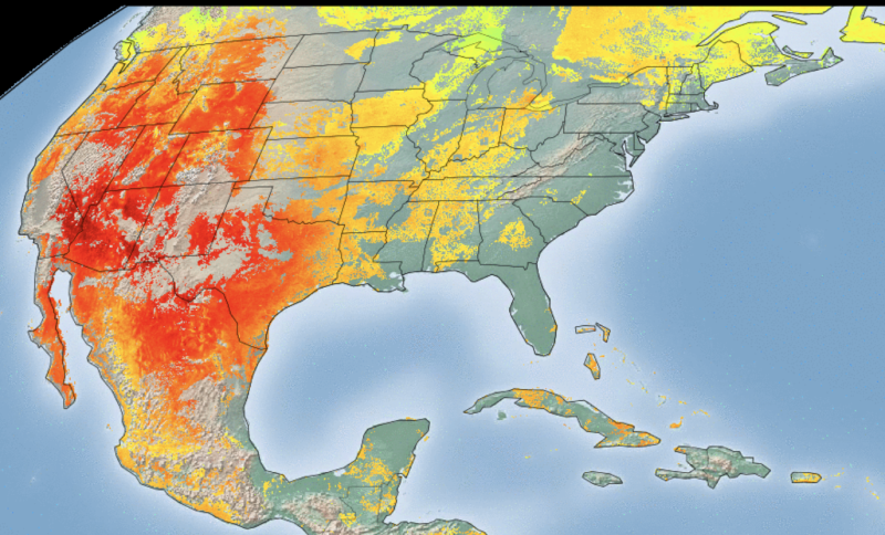 A weather map of the US shows land surface temperature.