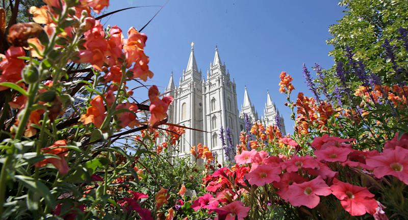 Flowers bloom in front of the Salt Lake Temple,  - Copyright 2017 The Associated Press. All rights reserved.