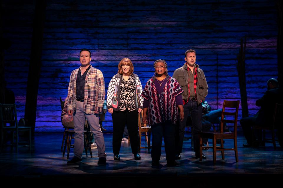 """Caesar Samayoa, Sharon Wheatley, Q. Smith and Tony LePage in """"Come From Away,"""" premiering September 10, 2021 on Apple TV+."""