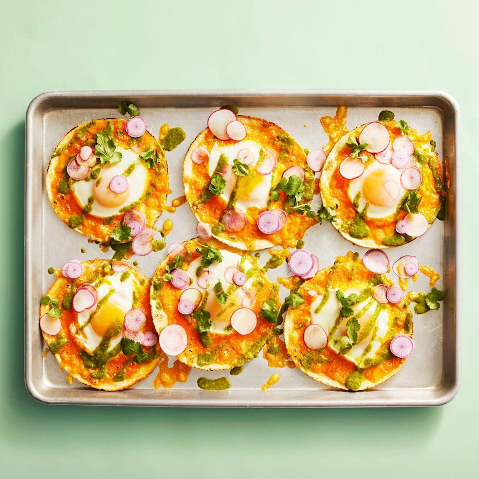 """<p>These tacos have a flavor profile that's more Tex-Mex than Mediterranean, but they fit right in with the crowd, thanks to eggs, dairy, olive oil, and plenty of veggies.</p><p><strong><em><a href=""""https://www.prevention.com/food-nutrition/recipes/a34165564/sheet-pan-egg-tacos-recipe/"""" rel=""""nofollow noopener"""" target=""""_blank"""" data-ylk=""""slk:Get the recipe from Prevention »"""" class=""""link rapid-noclick-resp"""">Get the recipe from Prevention »</a></em></strong></p>"""