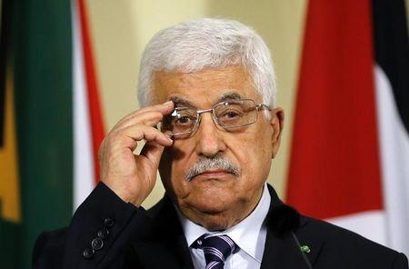 Palestinian President Mahmoud Abbas listens to a question during a media briefing at the Union Building in Pretoria