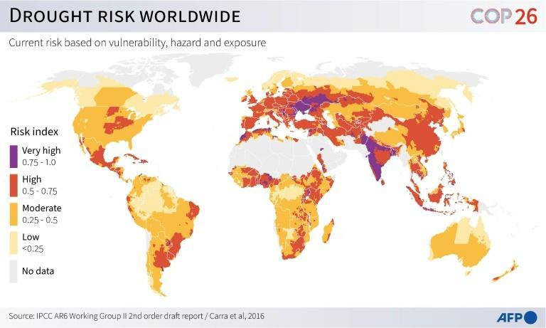 Drought risk worldwide (AFP/Gal ROMA)