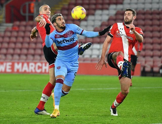 Said Benrahma on the attack for West Ham against Southampton