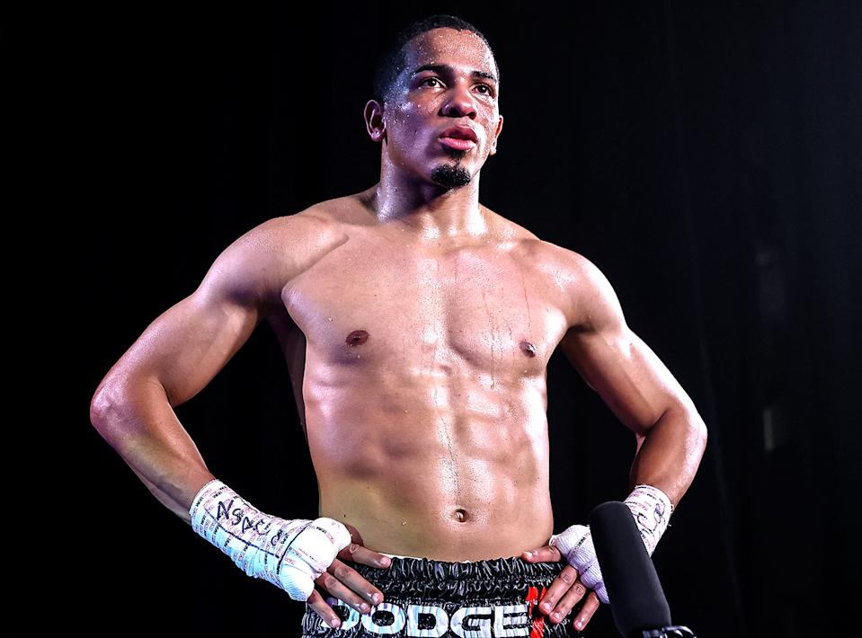 LAS VEGAS, NEVADA - JULY 16: In this handout image provided by Top Rank, Felix Verdejo is interviewed after defeating Will Madera (not pictured) during their lightweight bout at MGM Grand Conference Center Grand Ballroom on July 16, 2020 in Las Vegas, Nevada. (Photo by Mikey Williams/Top Rank via Getty Images)