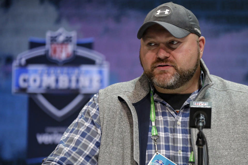 FILE - New York Jets general manager Joe Douglas speaks during a press conference at the NFL football scouting combine in Indianapolis, in this Tuesday, Feb. 25, 2020, file photo. The NFL's salary cap will be $182.5 million per team in the upcoming season, a drop of 8% from 2020. Now the scrambling begins for a number of teams that are significantly over the cap. On the other side of the ledger, the Jets, Patriots and Jaguars had the most money available, ranging from $65 million to $67 million. (AP Photo/Michael Conroy, File)