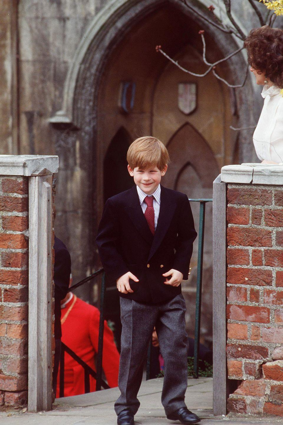 <p>Harry is all suited up as he leaves Easter services at St. George's Chapel in Windsor Castle. </p>