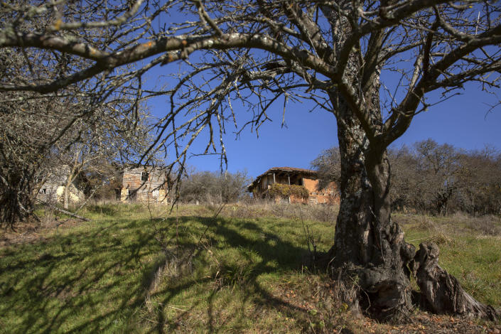 Abandoned households seen in the deserted village of Vaganesh, the only and lone resident a 92 year old Blagica Dicic still living here on Thursday, Nov. 19, 2020, abandoned by all her former ethnic Serb neighbors. (AP Photo/Visar Kryeziu)