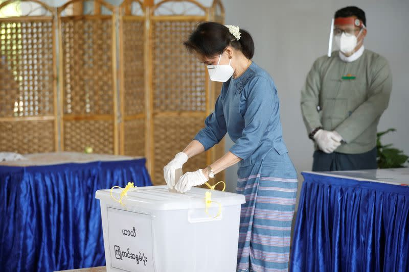 Myanmar State Counselor Aung San Suu Kyi casts an advance vote ahead of November 8th general election in Naypyitaw, Myanmar