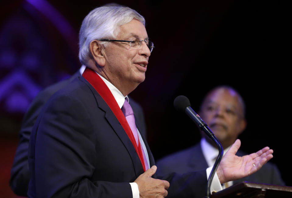 National Basketball Association Commissioner David Stern addresses the audience after being presented with a W.E.B. Du Bois Medal during an award ceremony at Harvard University, in Cambridge, Mass., Wednesday, Oct. 2, 2013. Harvard has awarded the medal since 2000 to people whose work has contributed to African and African-American culture. Six people were recipients of the award for 2013. (AP Photo/Steven Senne)