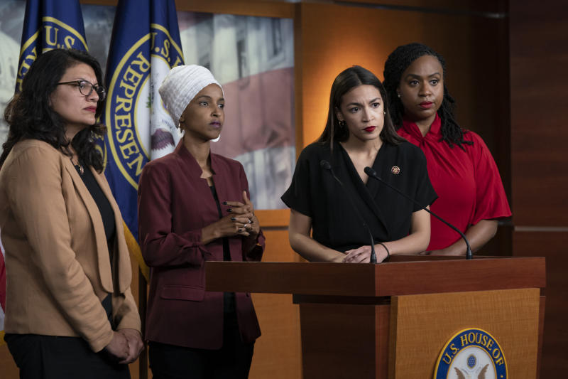 From left, Reps. Rashida Tlaib, llhan Omar, Alexandria Ocasio-Cortez and Ayanna Pressley respond to remarks by President Trump during a news conference on July 15. (Photo: J. Scott Applewhite/AP)