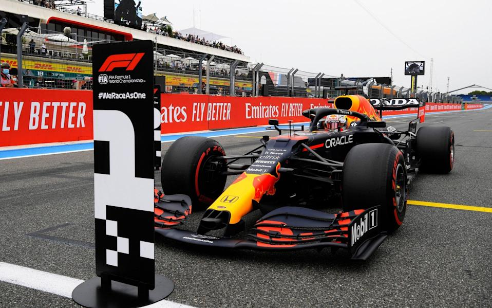 Pole position qualifier Max Verstappen of Netherlands and Red Bull Racing stops in parc ferme during qualifying ahead of the F1 Grand Prix of France at Circuit Paul Ricard on June 19, 2021 in Le Castellet, France - Nicolas Tucat - Pool/Getty Images
