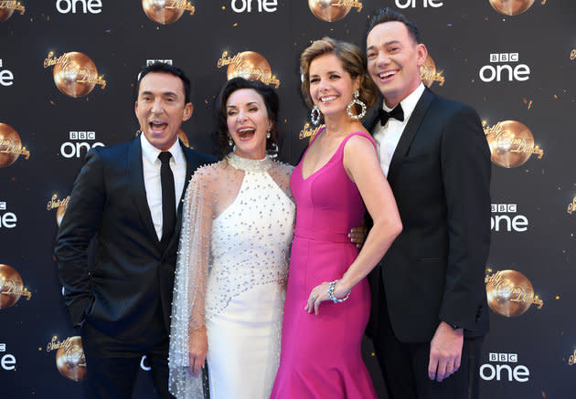 Shirley with her fellow 'Strictly' judges (l-r) Bruno Tonioli, Darcey Bussell and Craig Revel-Horwood.