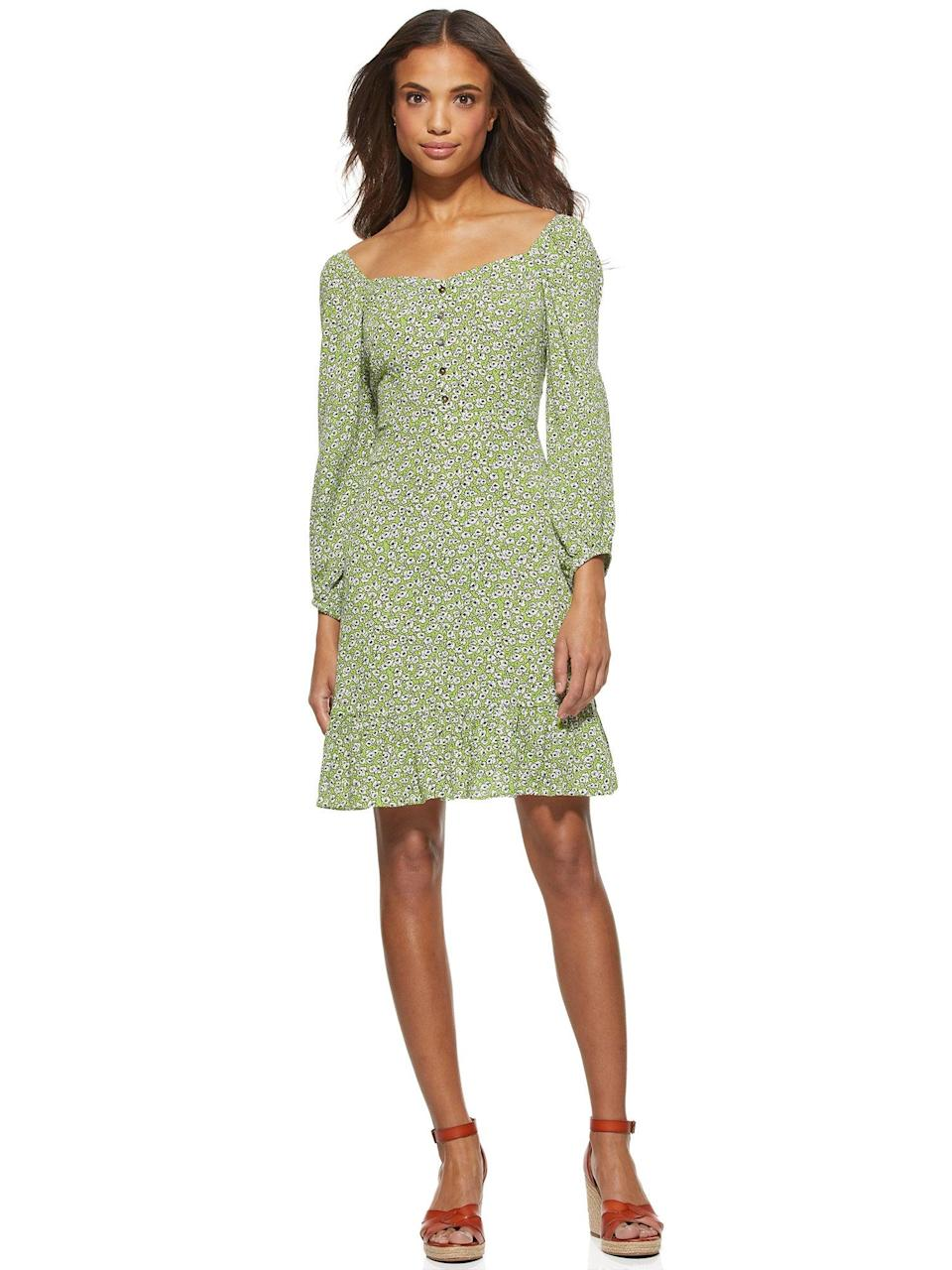 """This dress is regrettably not on sale but, there's plenty of <a href=""""https://www.walmart.com/browse/scoop/scoop-shop-all/5438_3317124_5800740_2704792?cat_id=5438_3317124_5800740_2704792_4936432&facet=special_offers%3AClearance"""" rel=""""nofollow noopener"""" target=""""_blank"""" data-ylk=""""slk:other Scoop frocks listed at clearance prices"""" class=""""link rapid-noclick-resp"""">other Scoop frocks listed at clearance prices</a>. <br> <br> <strong>Scoop</strong> Square Neck Mini Dress, $, available at <a href=""""https://go.skimresources.com/?id=30283X879131&url=https%3A%2F%2Fwww.walmart.com%2Fip%2FScoop-Women-s-Square-Neck-Mini-Dress%2F446742806"""" rel=""""nofollow noopener"""" target=""""_blank"""" data-ylk=""""slk:Walmart"""" class=""""link rapid-noclick-resp"""">Walmart</a>"""
