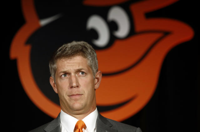 Mike Elias, the Baltimore Orioles' new executive vice president and general manager, speaks at a news conference, Monday, Nov. 19, 2018, in Baltimore. (AP Photo/Patrick Semansky)
