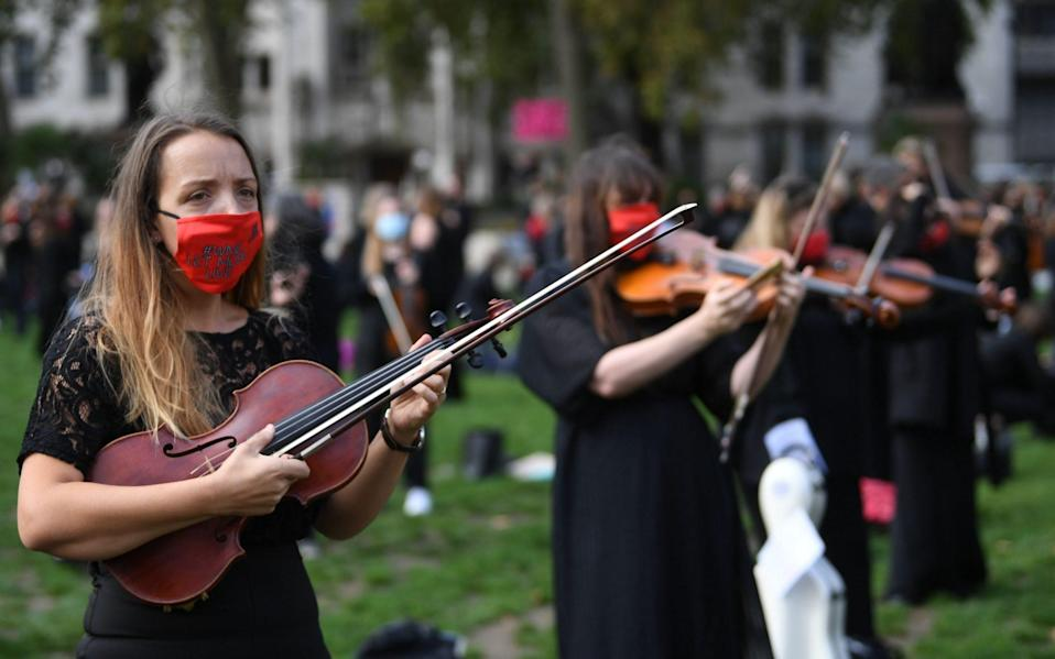 Musicians protest in Parliament Square over lack of support for the self-employed - NEIL HALL/EPA-EFE/Shutterstock/Shutterstock