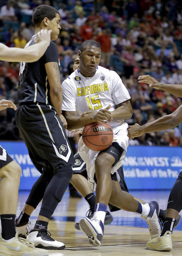 California's Jordan Mathews (15) drives against Colorado's Dustin Thomas in the first half of an NCAA college basketball game in the Pac-12 men's tournament, Thursday, March 13, 2014, in Las Vegas. (AP Photo/Julie Jacobson)