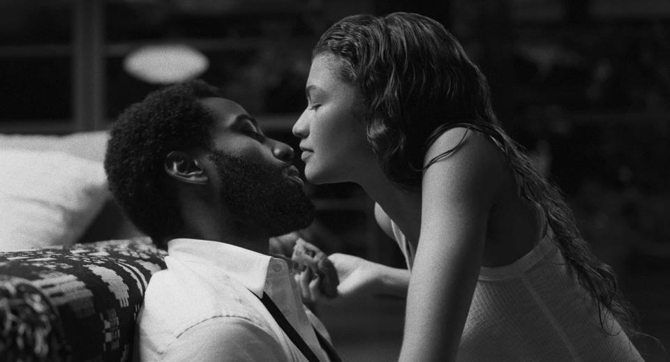 """This image released by Netflix shows Zendaya, right, and John David Washington in a scene from """"Malcolm & Marie."""" (Dominic Miller/Netflix via AP)"""