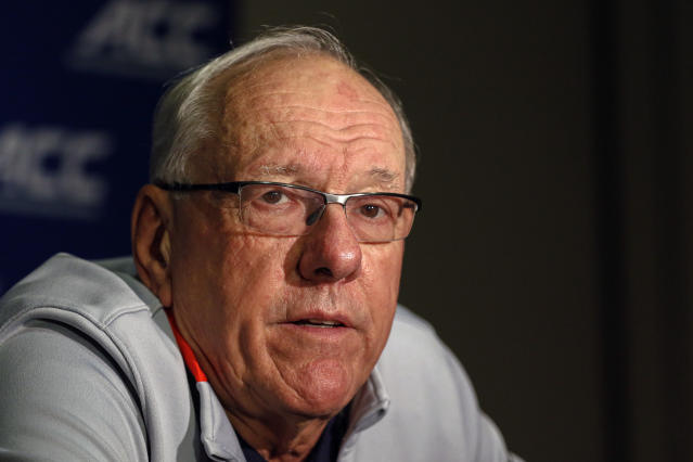Syracuse coach Jim Boeheim answers a question during the Atlantic Coast Conference NCAA college basketball media day in Charlotte, N.C., Tuesday, Oct. 8, 2019. (AP Photo/Nell Redmond)