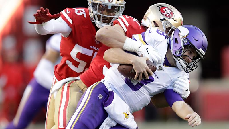 Watch 49ers' Nick Bosa celebrate wildly after injury scare vs. Vikings