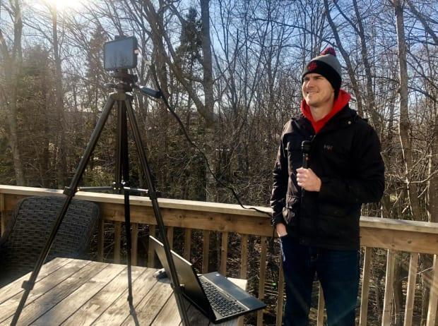 Ryan Snoddon, CBC's meteorologist in Nova Scotia and New Brunswick, broadcasts from his back deck.