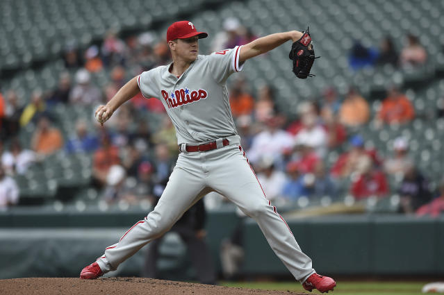 Philadelphia Phillies pitcher Nick Pivetta throws against the Baltimore Orioles in the first inning of baseball game, Wednesday, May 16, 2018, in Baltimore. (AP Photo/Gail Burton)